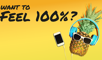 feel 100% launch event logo: cartoon pineapple in shades with headphones and i-phone