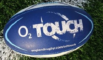 O2 Touch branded rugby ball