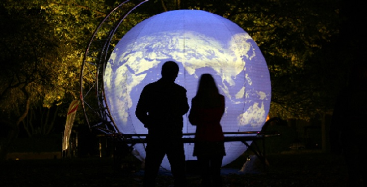 A four-metre high inflated sphere lit with intense translucent colours, projected video images, animations and visual effects that spin magically around the outside of the globe