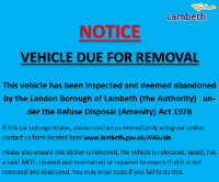 Your vehicle has been inspected and classed as abandoned