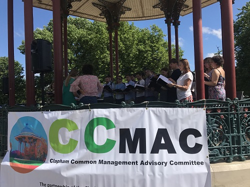 Clapham Common Bandstand with CCMAc  banner