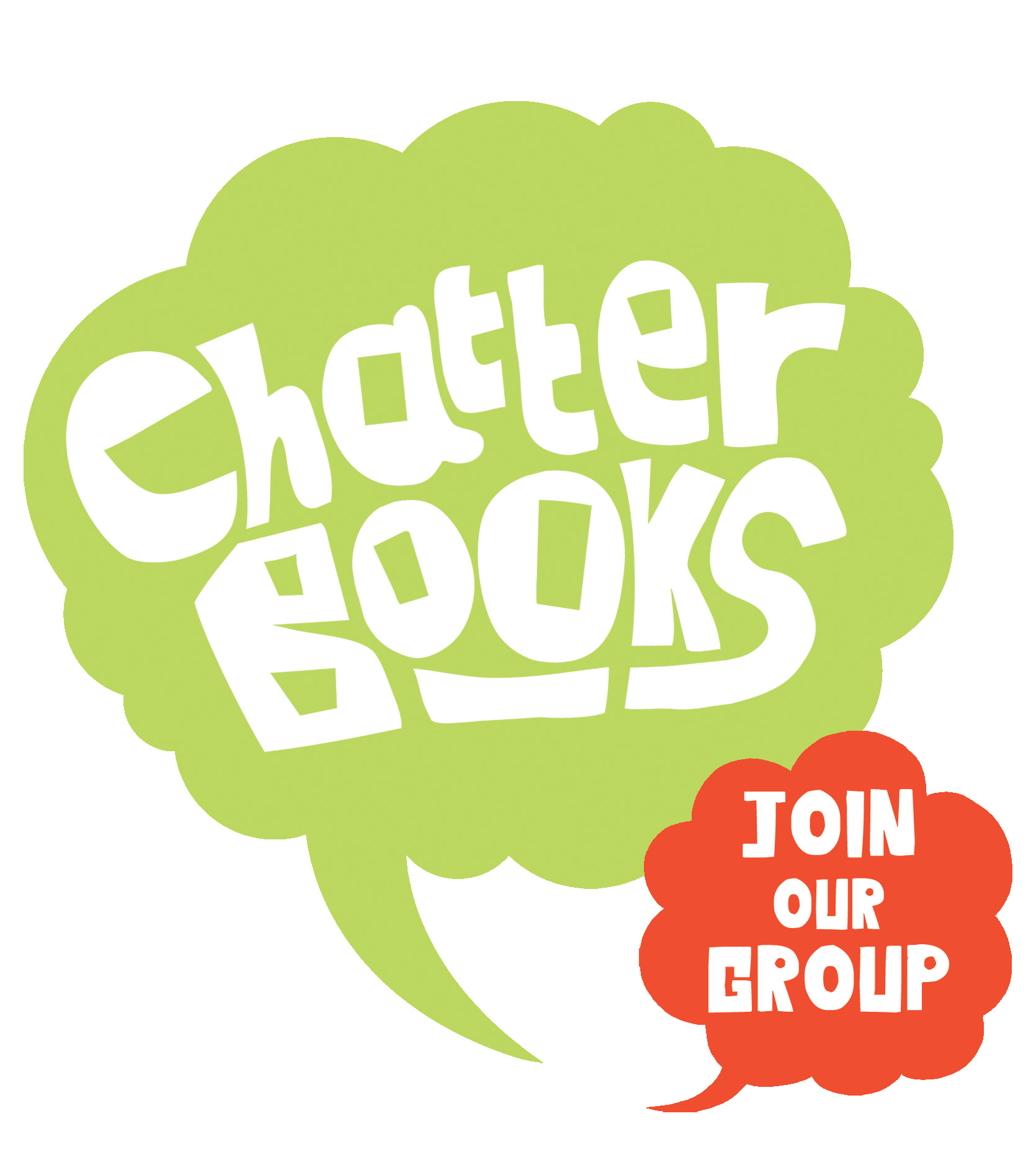 "Chatterbooks in a green speech bubble with ""join our group"" in a smaller green speech bubble"