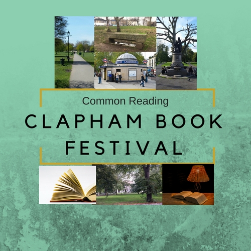 Clapham Book Festival poster with photos of buildings on green background