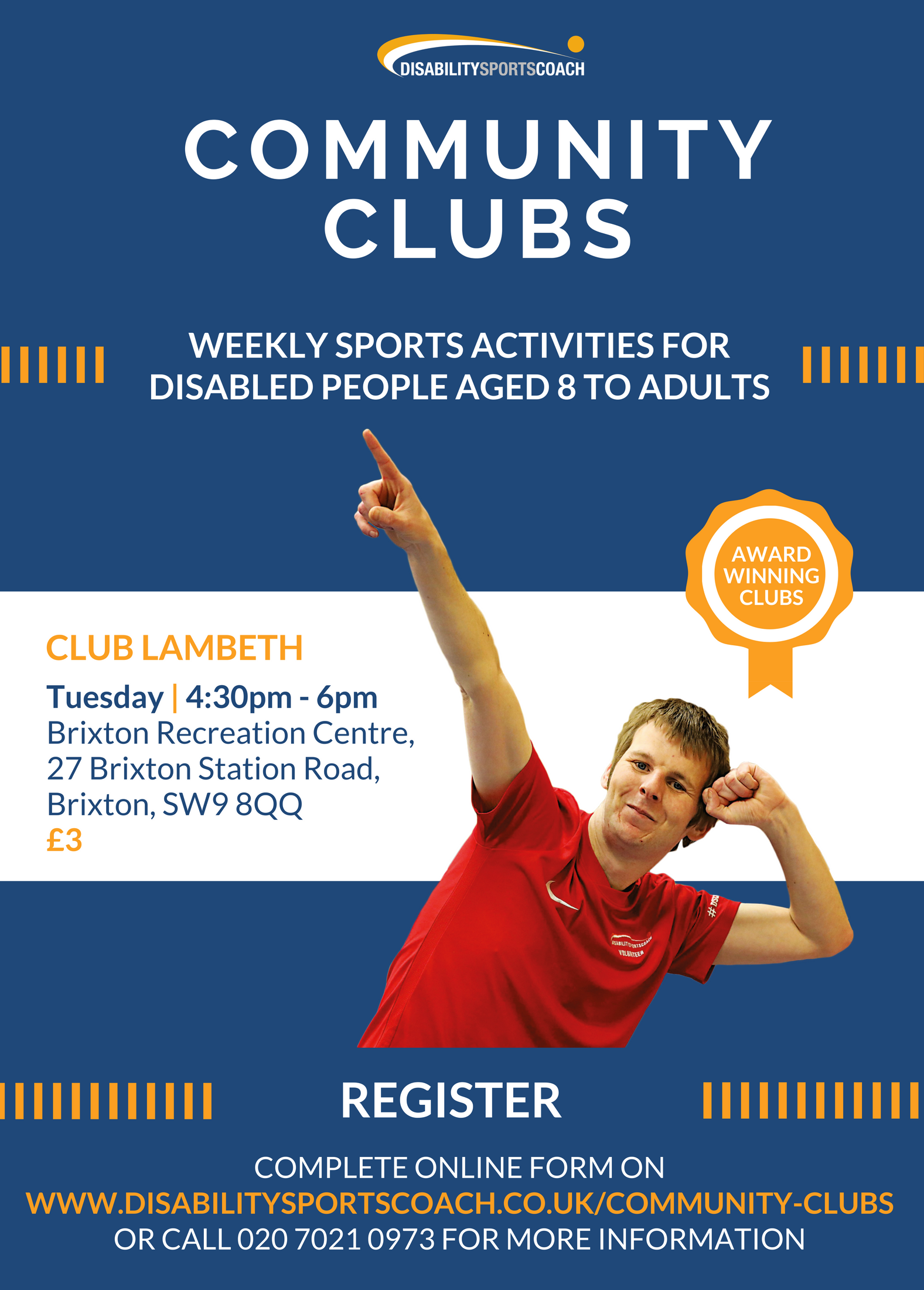 Community club Lambeth weekly sports activities for people with disabilities aged 11+ Tuesday afternoons (term time) Brixton Rec.