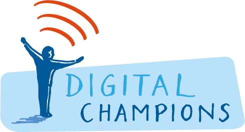Digital Champions Logo: illustration of man with arms outspread embracing 3 'waves' of data