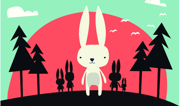 Image of illustrated white rabbit, standing in front of trees with a red backgroun and green sky.