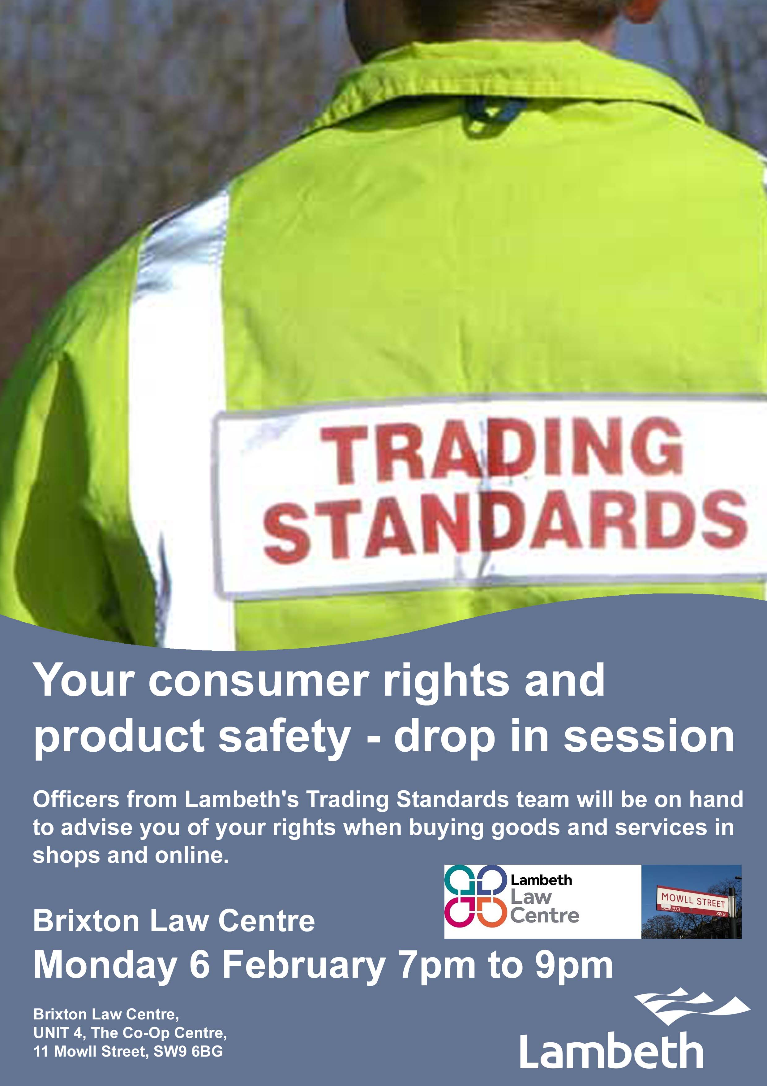 Poster for consumer rights drop-in session Brixton Law Centre 6 February