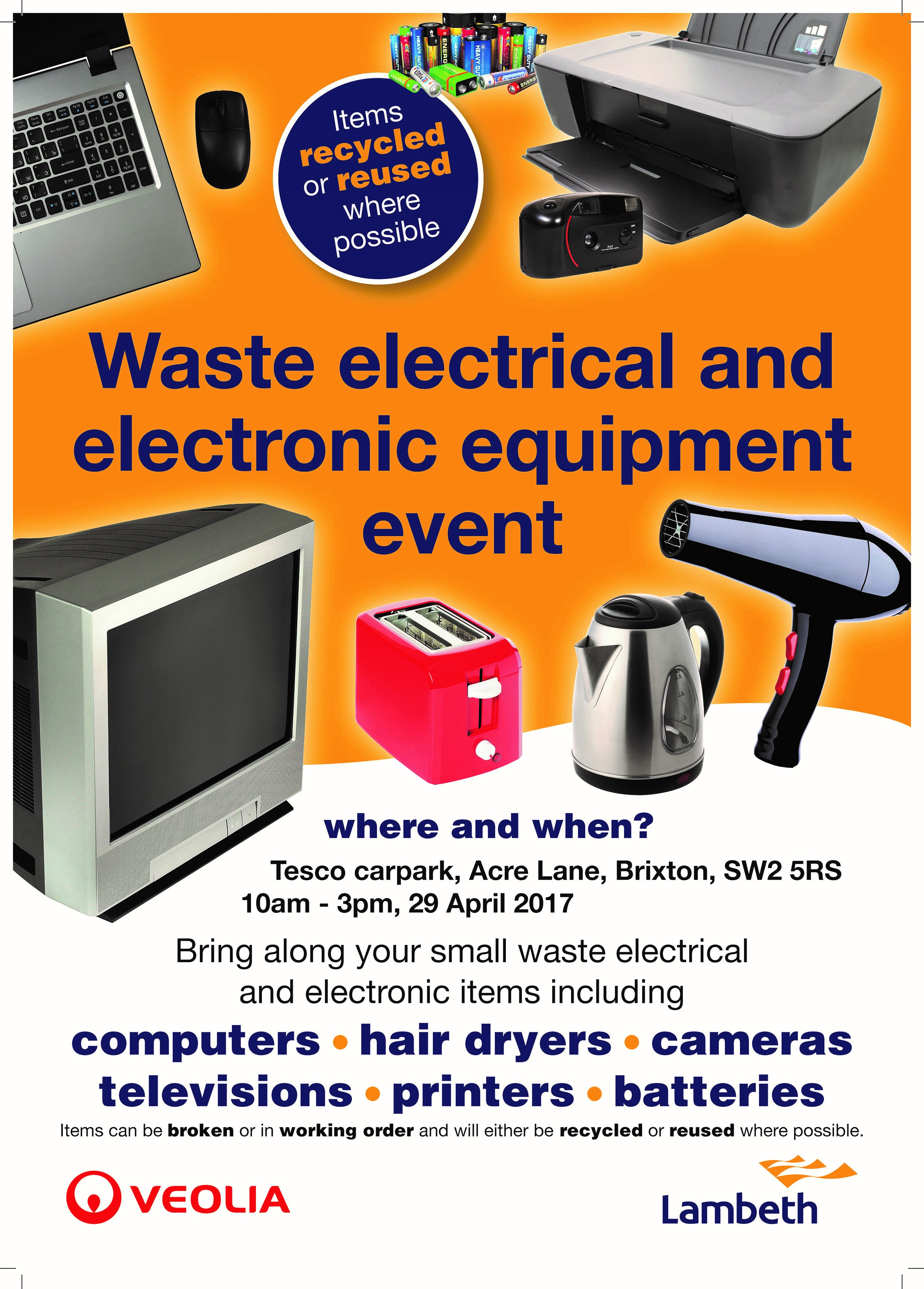 waste electrical and electronic equipment event 10-3 29 April Tesco Acre Lane