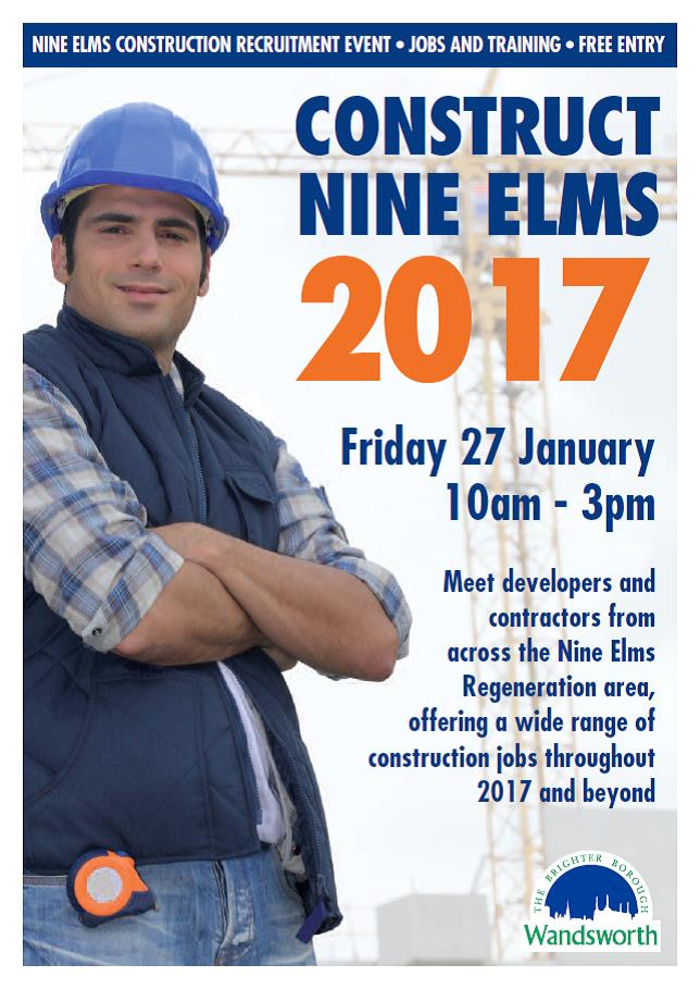Construct 9 elms poster Fri 27 january showing young white man in chyeck shirt & hard hat with crane in background