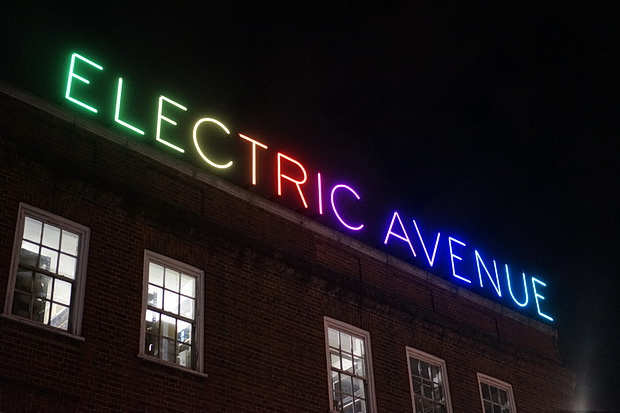 Illuminated Electric Avenue sign