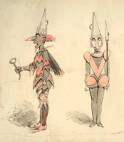 Surrey Theatre costume designs for 'The Moon Queen and King Night; or Harlequin Twilight' pantomimes, by Alfred Henry Forrester under the pseudonym Alfred Crowquill.
