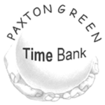 ballPaxton Green Time Bank with drawing of hands holding white
