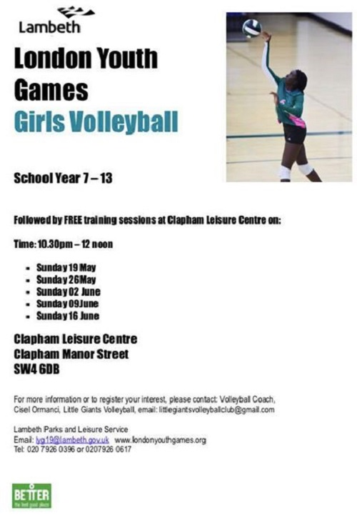 London Youth Games Girls Volleyball sunday training sessions poster May-June 2019