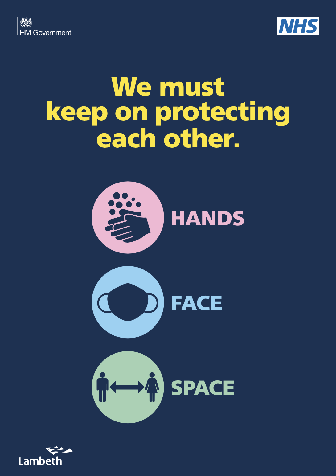 Hands, face, space NHS logo