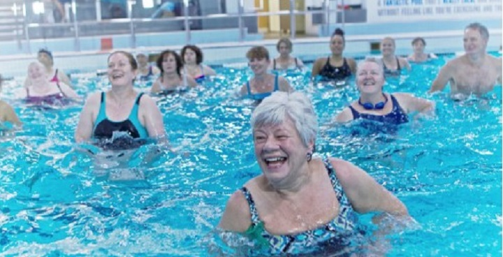 Keep-fit session in swimming pool