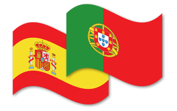 Spanish and Portuguese flags