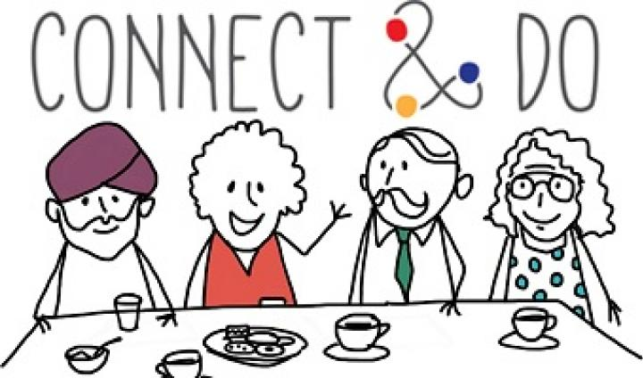 Connect & Do logo above a drawing of people chatting over a cup of tea.