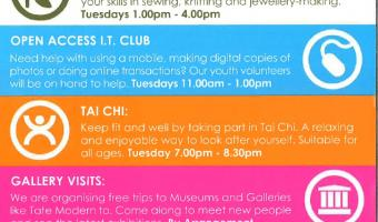 social at 198 list of training events: arts and crafts, IT, Tai Chi, Dominoes from 28 Feb 2017