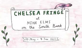 "Hand drawn scroll with a bird sitting on it. Text on scroll reads ""Chelsea Fringe at Nine Elms on the south bank"""