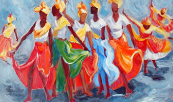 Image of black women with flowing colour skirts