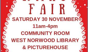 Santa claus christmas flyer to promote Xmas Fair at West Norwood