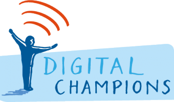 Digital Champions Logo: drawing of man with arms outspread 'embracing' 3 curved lines used to indicate 'broadband'