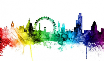 multi colour graphic of london city