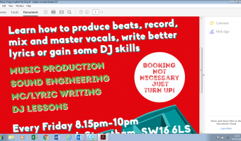 Streatham Music project for 14-21 year olds fridays 8.15-10pm