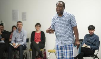 Tony Cealy teaching a theatre workshop