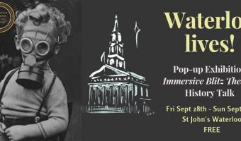 Waterloo Lives event 28-30 Sept 2018 St John's church - image of child in gas mask