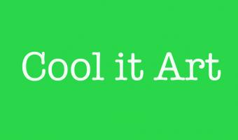 Cool it Art white typewriter text reversed out of leaf green square