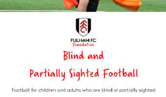 football sessions for blind & partially sighted children and adults Thurs 6pm Brixton recreation Centre