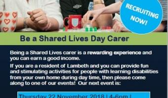 Be a shared lives day carer recruitment event Thurs 22 Nov 4-6pm at we Are 336