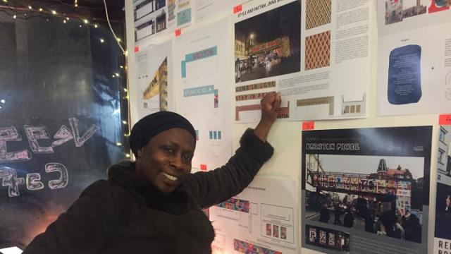 Design competition entries on display at the Brixton Pound Cafe in December 2017