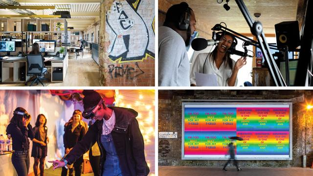 A selection of four images showcasing the creative and digital economy in Lambeth