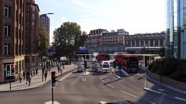 CGI of proposed view of Waterloo Road from Stamford St