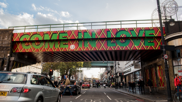 Picture of bridge in Brixton 'come in Love ' design in daylight