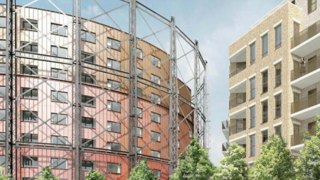 Illustrative view of the new green space and building within the restored gasholder