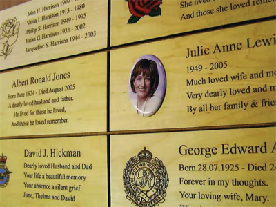 Image of a memorial wooden plaque